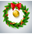 Christmas wreath fir branches red berries and vector image vector image