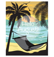Summer beach with Hammock and Palm trees Card vector image