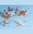 Sea Port Isometric Infographics vector image