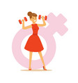 powerful confident woman in a red dress lifting vector image