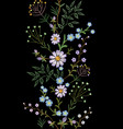 embroidery texture flower seamless border floral vector image