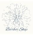 scissors and vintage sun burst frame Barbershop vector image