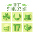 St Patricks Day icon set in flat design vector image
