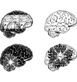 Set Of Four One Color Electronic Brain Side View vector image vector image