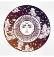 Round drawing of a night sky with sun moon inside vector image