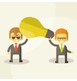 Business man get idea businessmen holding a light vector image