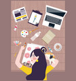 busy woman designer artist taking a nap on working vector image