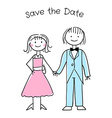 Cute cartoon wedding invitation template vector image