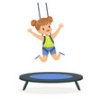 cute little girl jumping on trampoline kid have a vector image