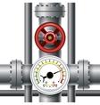 Gas pipe valve pressure meter vector image