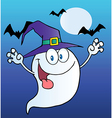 Ghost Wearing A Witch Hat Over Bats On Blue vector image