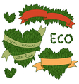 Set of leaves with ribbon ecology theme vector image