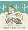 Doodle Owls Christmas card vector image vector image