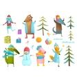 Winter season holiday animals clip art collection vector image