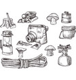 hand drown kit set of hiking camping equipment vector image