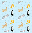 beautiful pattern with different breeds of cats vector image