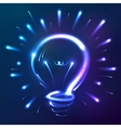 Bright blue neon lights abstract bulb vector image