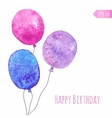 Card with colored watercolor paint balloons vector image