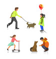 people outdoor activity walking playing vector image