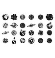 universe planet icon set simple style vector image