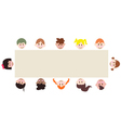 multicultural children around a blank banner vector image