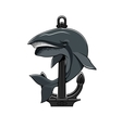 Whale and Anchor heraldic icon vector image