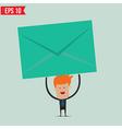 Businessman holding envelope vector image vector image