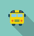 School Bus Flat Icon with Long Shadow vector image vector image