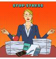 Businesswoman in Yoga Pose Multitasking Work vector image