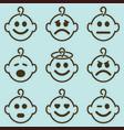 baby smileys set vector image