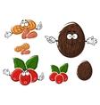 Cartoon coffee coconut and peanut characters vector image