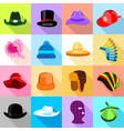 headdress hat icons set colorful flat style vector image
