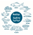 Healthy line doodle seafood vector image