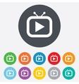 Retro TV mode sign icon Television set symbol vector image