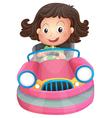 A young girl riding on a pink bumpcar vector image