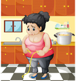 A fat woman inside the kitchen vector image vector image