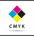 abstract logo in the shape of a diamond with cmyk vector image