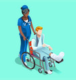 black female nurse and patient isometric people vector image