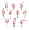 Vintage sketch drawings of red burning torches vector image vector image
