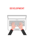 development with thin line laptop and hands vector image