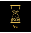 Love hourglass with hearts inside Gold sparkles vector image