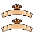 Monkey with ribbon banner vector image