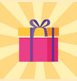 parcel icon in decorative pink wrapping paper bow vector image