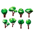 Polygonal trees icons with green foliage vector image