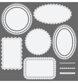 Set of lace frames napkins and ribbons vector image
