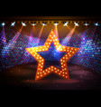 Silhouette of disco star sign on disco stage vector image