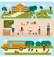 Three templates with school scene vector image