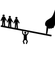 people balance on seesaw vector image vector image