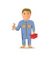 Cartoon Mechanic Car repairman Character vector image