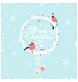 Christmas Background with Funny Bullfinches vector image